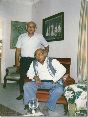 With His Guru Ustad Amjad Ali Khan In Sydney in 1990 at Nancy Grover's Residence